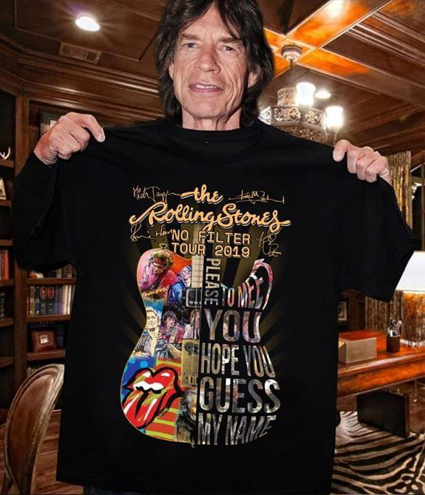 The Rolling Stones No Filter Tour 2019 Guitar Images Shape Signed Shirt Tshirt, Hoodie, Sweater Up To 5xl White