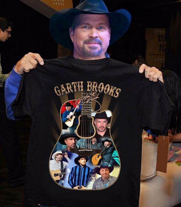Garth Brooks Guitar Images Shape Signed Shirt Tshirt, Hoodie, Sweater Up To 5xl