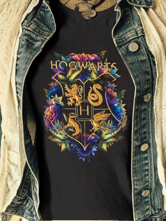 Hogwarts Wizarding World Harry Potter Floral House Crests T Shirt Hoodie, Sweater Up To 5xl