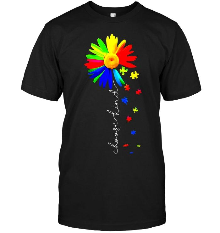 Choose Kind Autism Color Daisy Black T Shirt T Shirt Hoodie, Sweater Up To 5xl