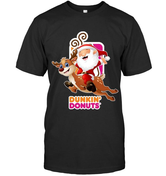 Dunkin Donuts Christmas Santa Riding Reindeer Shirt T Shirt Hoodie, Sweater Up To 5xl