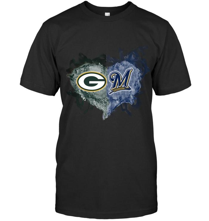 Green Bay Packers And Milwaukee Brewers Flaming Heart Fan T Shirt T Shirt Hoodie, Sweater Up To 5xl
