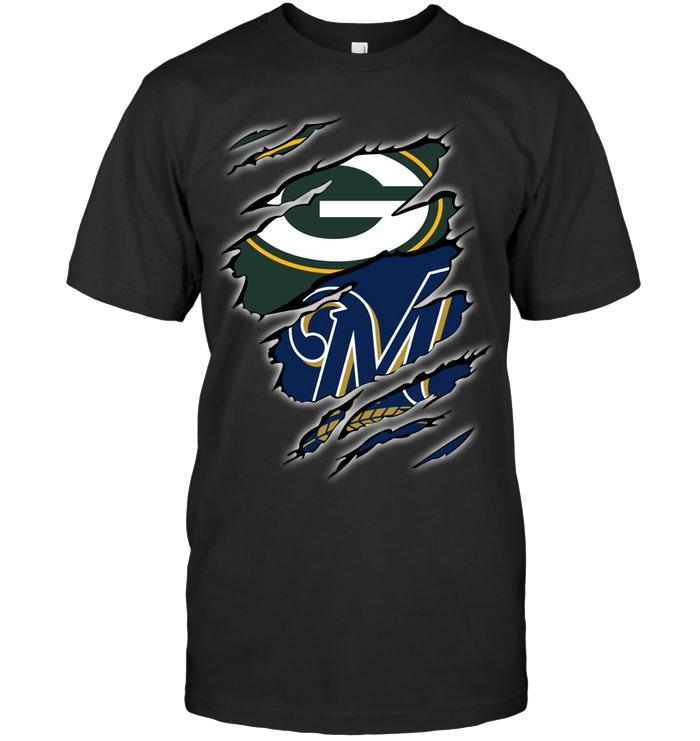 Green Bay Packers And Milwaukee Brewers Layer Under Ripped Shirt T Shirt Hoodie, Sweater Up To 5xl