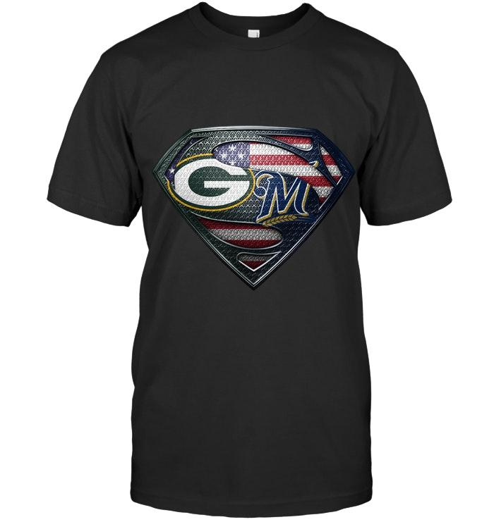 Green Bay Packers And Milwaukee Brewers Superman American Flag Layer Simpson Shirt T Shirt Hoodie, Sweater Up To 5xl
