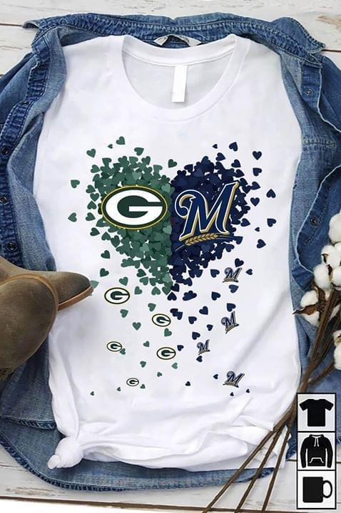 Green Bay Packers Milwaukee Brewers Tiny Hearts Love Shape T Shirt T Shirt Hoodie, Sweater Up To 5xl