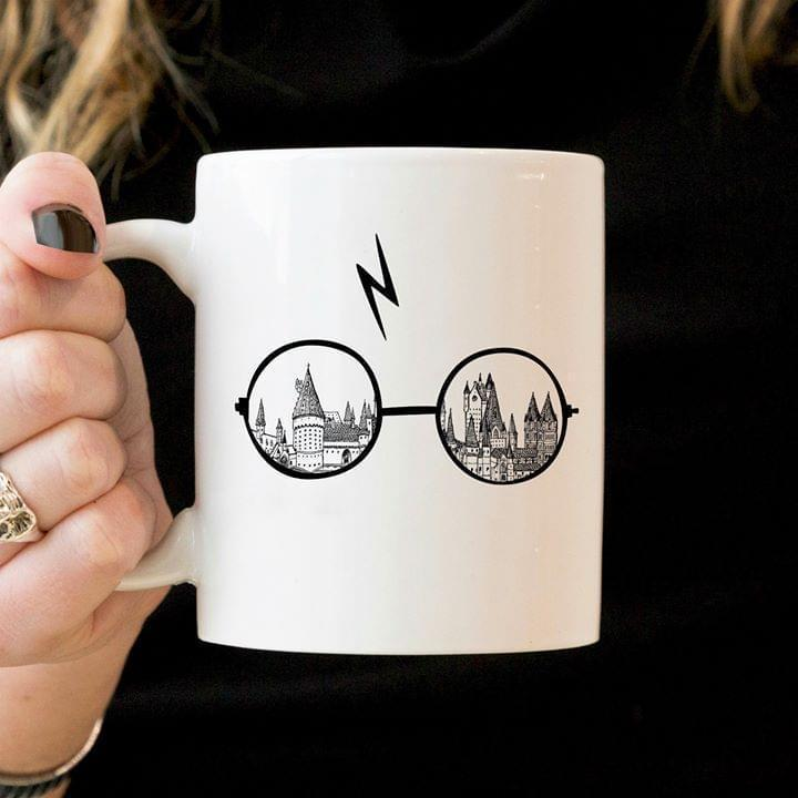 Harry Potter Glasses Lightning Scar Mug T Shirt Hoodie, Sweater Up To 5xl