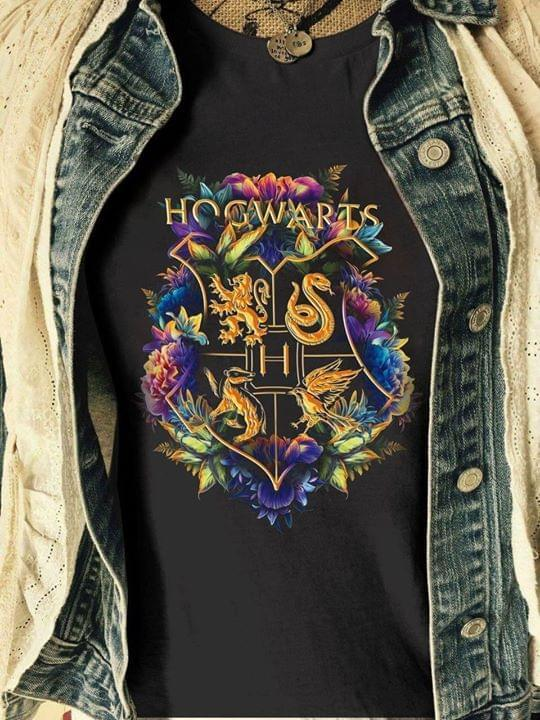 Hogwarts Wizarding World Harry Potter Floral House Crests T Shirt T Shirt Hoodie, Sweater Up To 5xl