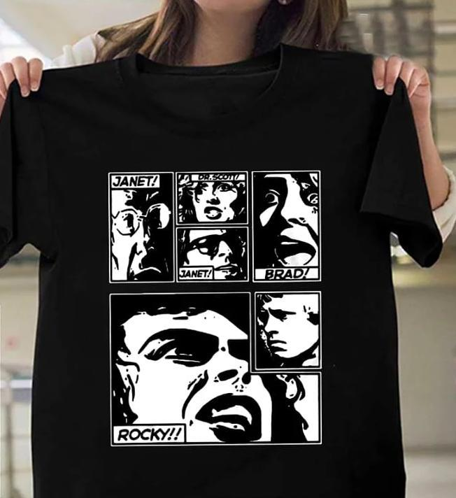 Janet Dr Scott Janet Brad Rocky The Rocky Horror Picture Show Comic T Shirt T Shirt Hoodie, Sweater Up To 5xl