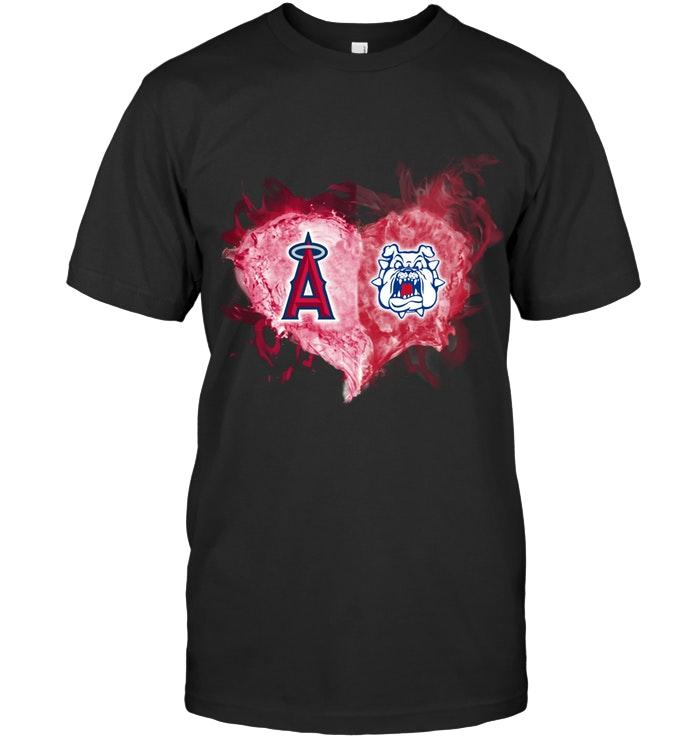 Los Angeles Angels And Fresno State Bulldogs Flaming Heart Fan T Shirt T Shirt Hoodie, Sweater Up To 5xl