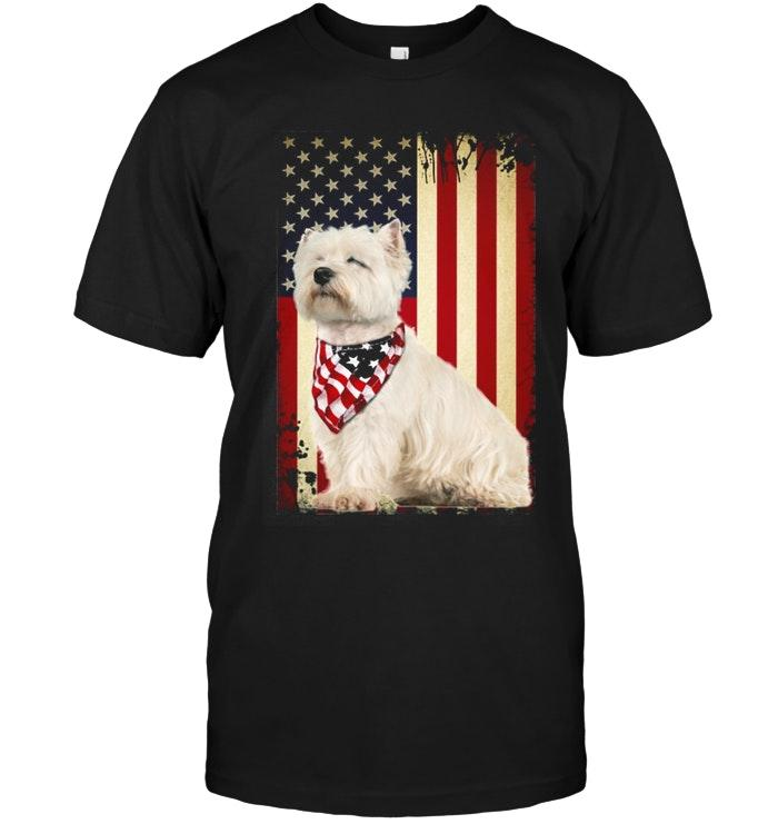 West Highland White Terrier 4th July Independence Day American Flag Shirt T Shirt Hoodie, Sweater Up To 5xl
