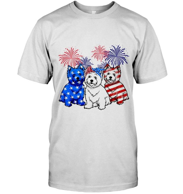 West Highland White Terrier American Flag Independence Day Firework Shirt T Shirt Hoodie, Sweater Up To 5xl