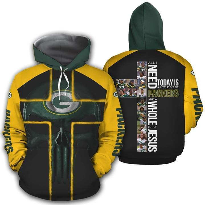 All I Need Today Is Little Bit Green Bay Packers And Whole Lots Of Jesus 3d Printed Hoodie 3d Graphic Printed Tshirt Hoodie Up To 5xl