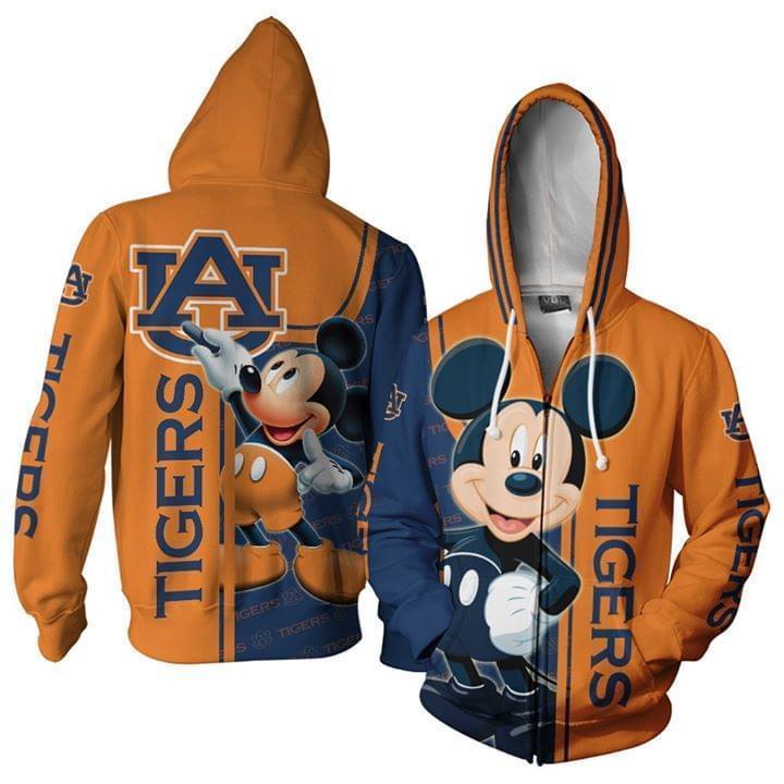 Auburn Tigers Mickey Disney 3d Printed Zip Hoodie 3d 3d Graphic Printed Tshirt Hoodie Up To 5xl
