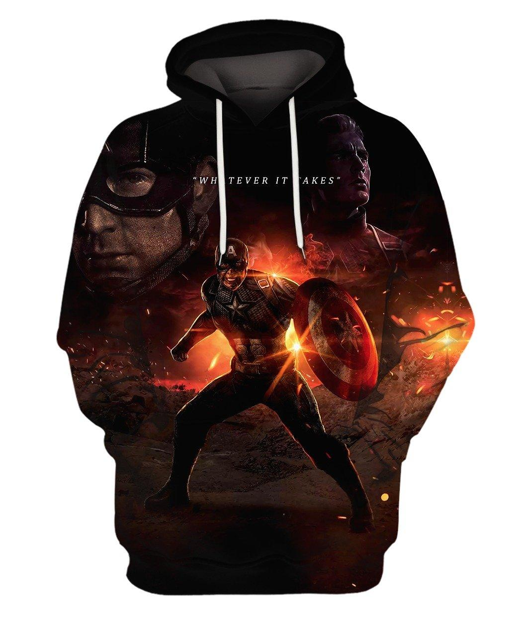 Avenger Endgame Captain America Full 3d 3d Graphic Printed Tshirt Hoodie Up To 5xl