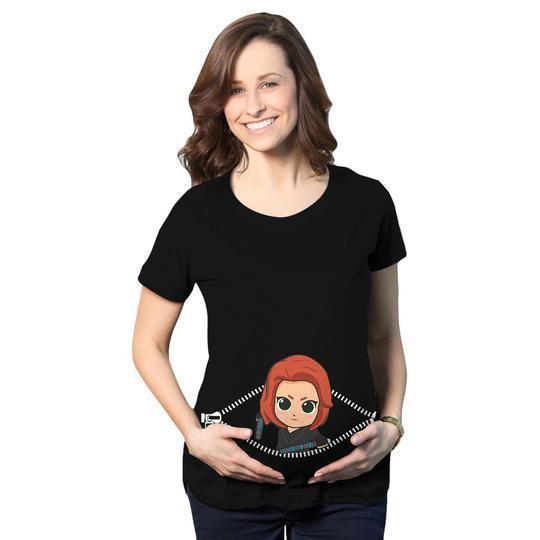 Baby Black Widow Peeking Maternity Black 3d Shirt 3d Graphic Printed Tshirt Hoodie Up To 5xl