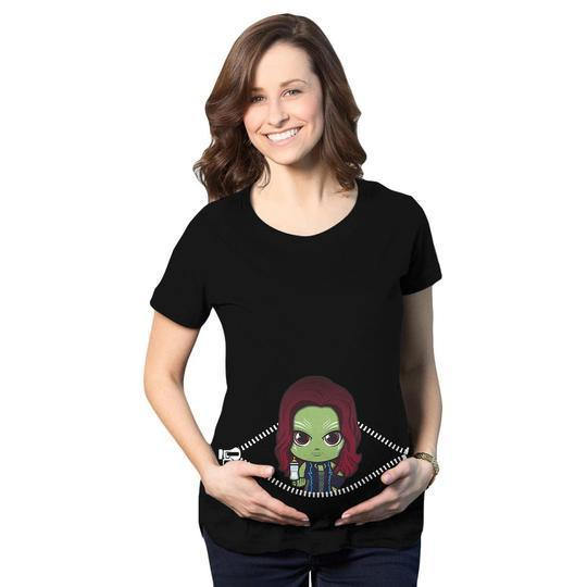 Baby gamora peeking maternity black 3d shirt 6ty