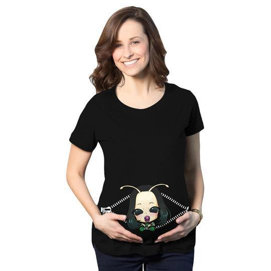 Baby mantis peeking maternity black 3d shirt 78v