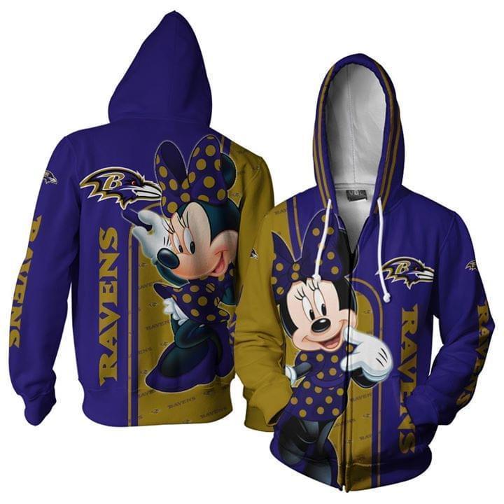 Baltimore Ravens Minnie Disney 3d Printed Zip Hoodie 3d 3d Graphic Printed Tshirt Hoodie Up To 5xl