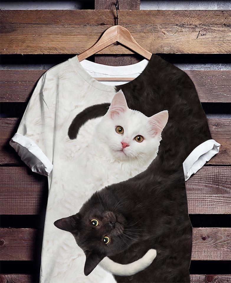Black And White Cat Yin Yang 3d Printed Shirt 3d Graphic Printed Tshirt Hoodie Up To 5xl