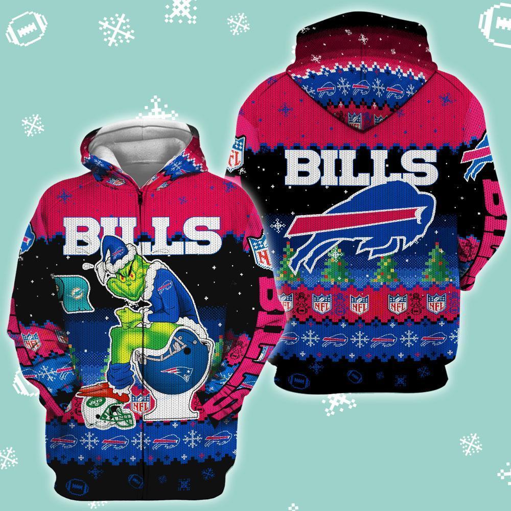 Buffalo Bills Christmas Grinch In Toilet Knitting Pattern Zip Hoodie Zip Hoodie 3d 3d Graphic Printed Tshirt Hoodie Up To 5xl