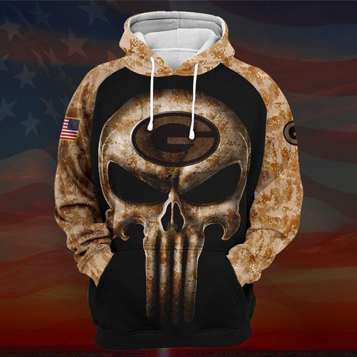 Camouflage Skull Green Bay Packers American Flag 3d Printed Hoodie 3d 3d Graphic Printed Tshirt Hoodie Up To 5xl