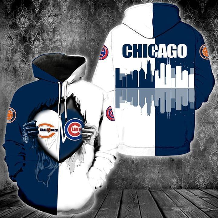 Chicago Bears And Chicago Cubs Heartbeat Love Ripped Hoodie 3d Graphic Printed Tshirt Hoodie Up To 5xl
