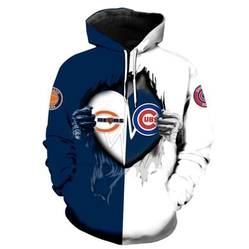 Chicago Bears Chicago Cubs Heartbeat Love Ripped 3d Hoodie 3d Graphic Printed Tshirt Hoodie Up To 5xl