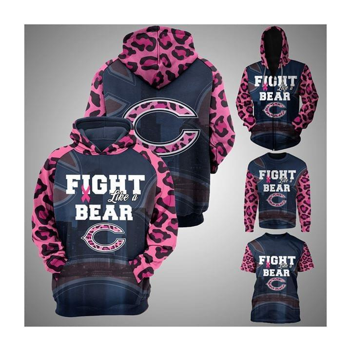 Chicago Bears Fight Like A Bear Pink Leopard Pattern Slevees Br East Cancer 3d Hoodie 3d Graphic Printed Tshirt Hoodie Up To 5xl