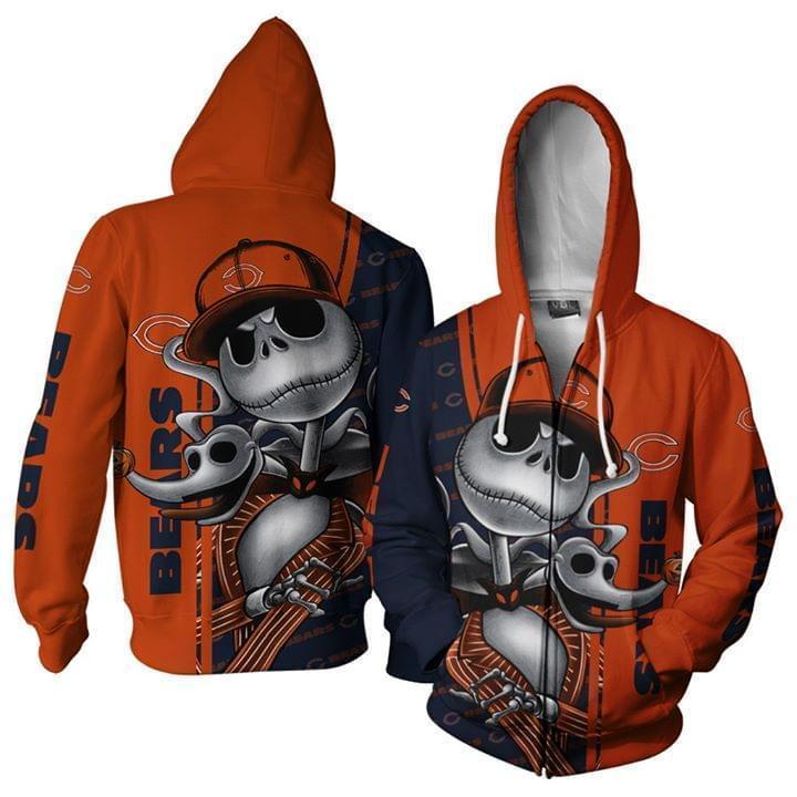Chicago Bears Jack Skellington Halloween 3d Printed Zip Hoodie 3d 3d Graphic Printed Tshirt Hoodie Up To 5xl