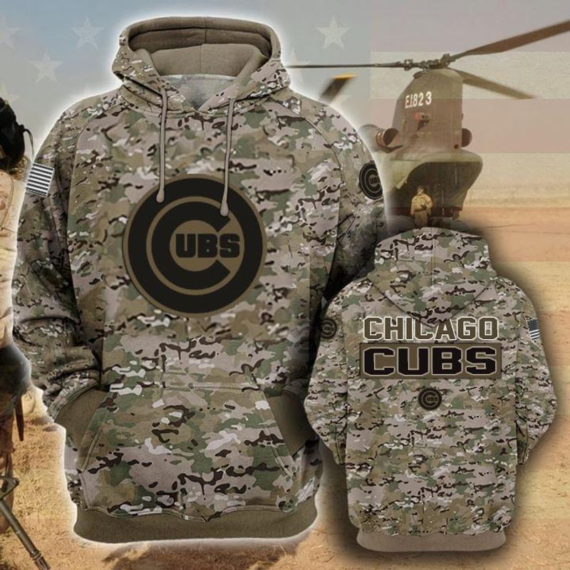 Chicago Cubs Camouflage Veteran 3d Hoodie 3d Graphic Printed Tshirt Hoodie Up To 5xl