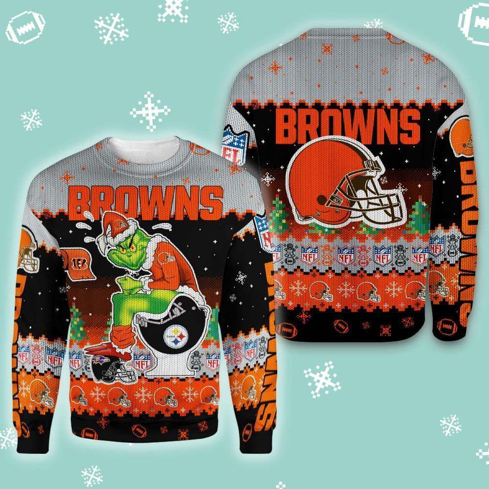 Christmas Cleveland Browns Grinch In Toilet Christmas Knitting Pattern Sweatshirt 3d 3d Graphic Printed Tshirt Hoodie Up To 5xl