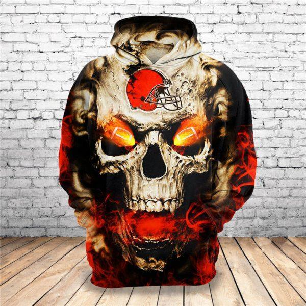Cleveland Browns 3d Skull Fire Hoodie 3d Graphic Printed Tshirt Hoodie Up To 5xl