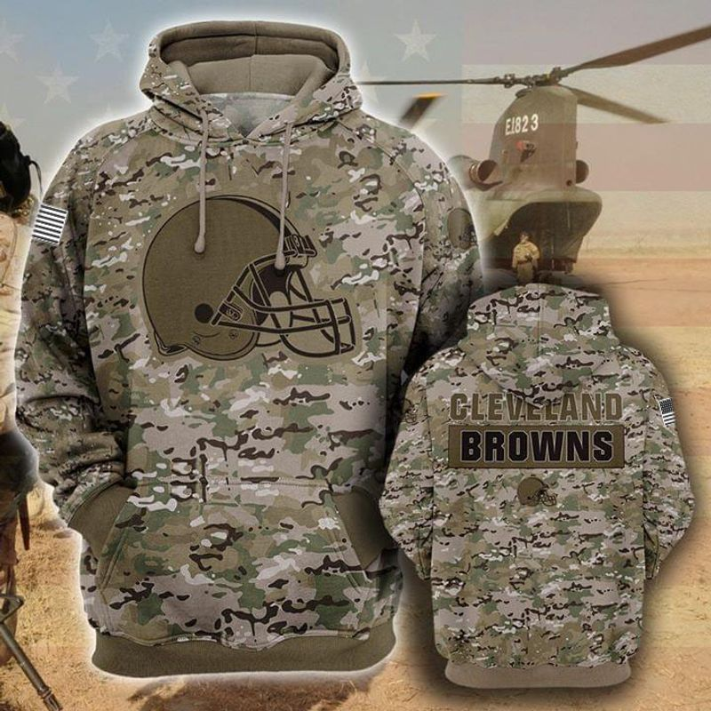 Cleveland Browns Camo Pattern 3d Printed Hoodie 3d 3d Graphic Printed Tshirt Hoodie Up To 5xl