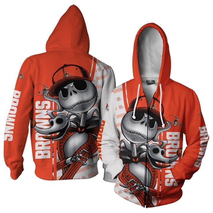 Cleveland Browns Jack Skellington Halloween 3d Printed Zip Hoodie 3d 3d Graphic Printed Tshirt Hoodie Up To 5xl