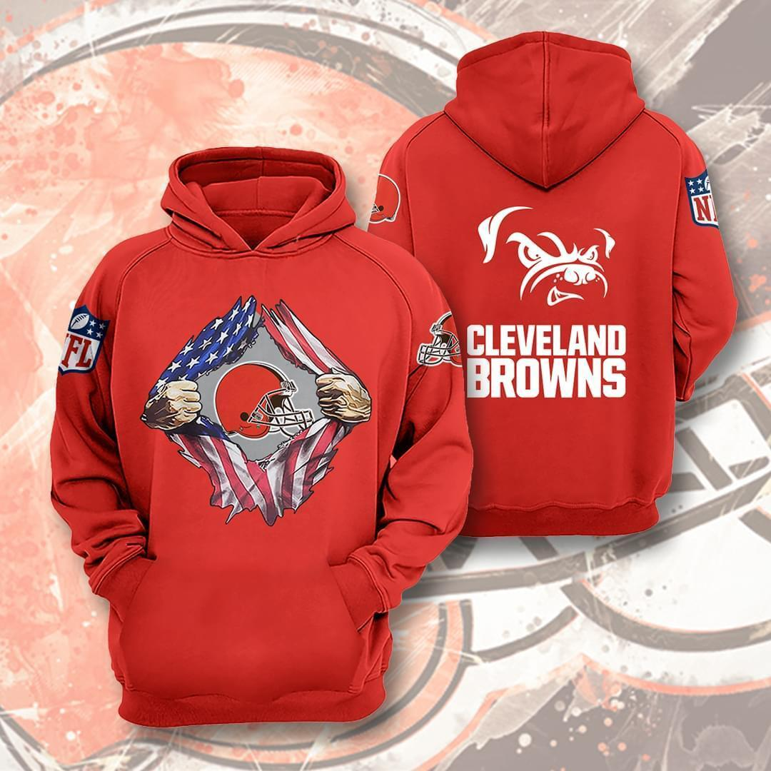 Cleveland Browns Nfl American Ripped 3d Printed Hoodie 3d 3d Graphic Printed Tshirt Hoodie Up To 5xl