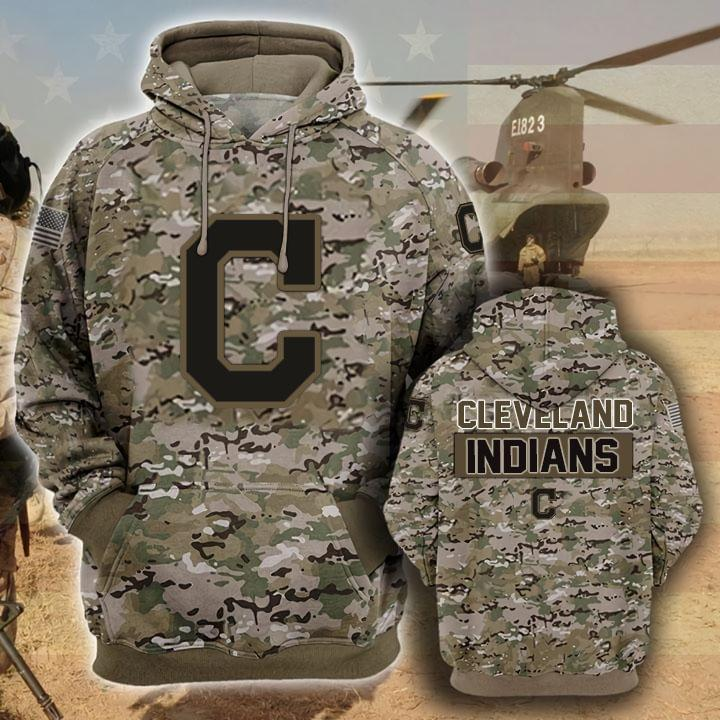 Cleveland Indians Camouflage Veteran 3d Hoodie 3d Graphic Printed Tshirt Hoodie Up To 5xl