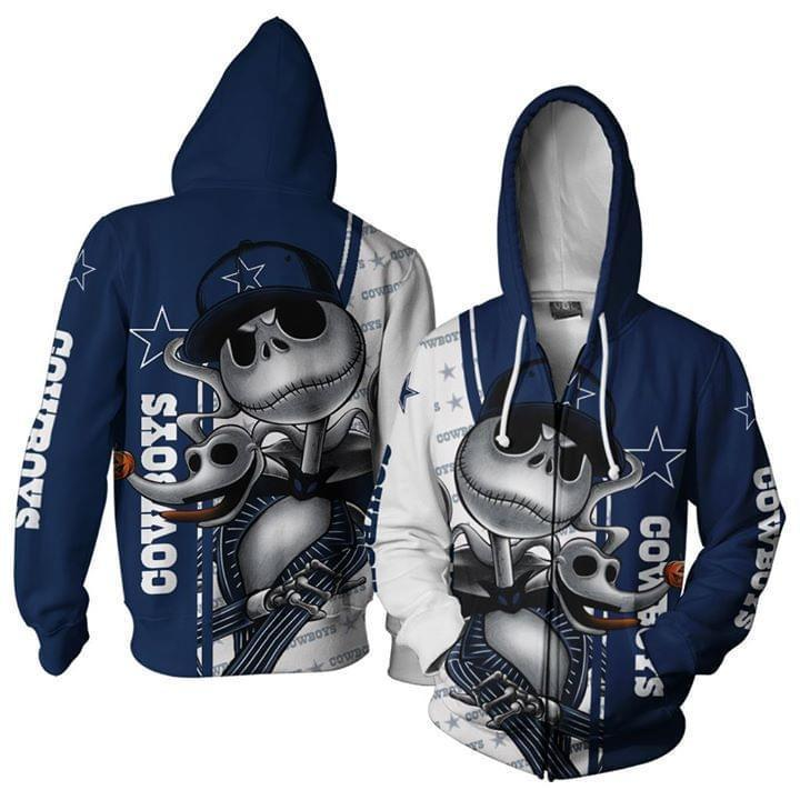Dallas Cowboys Jack Skellington And Zero 3d Zip Hoodie 3d Graphic Printed Tshirt Hoodie Up To 5xl