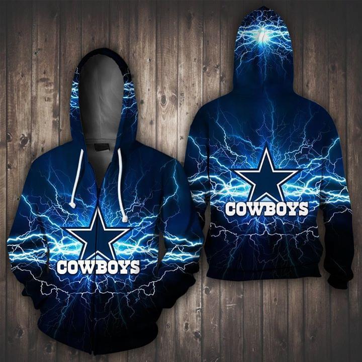 Dallas Cowboys Lighting 3d Printed Zip Hoodie 3d 3d Graphic Printed Tshirt Hoodie Up To 5xl