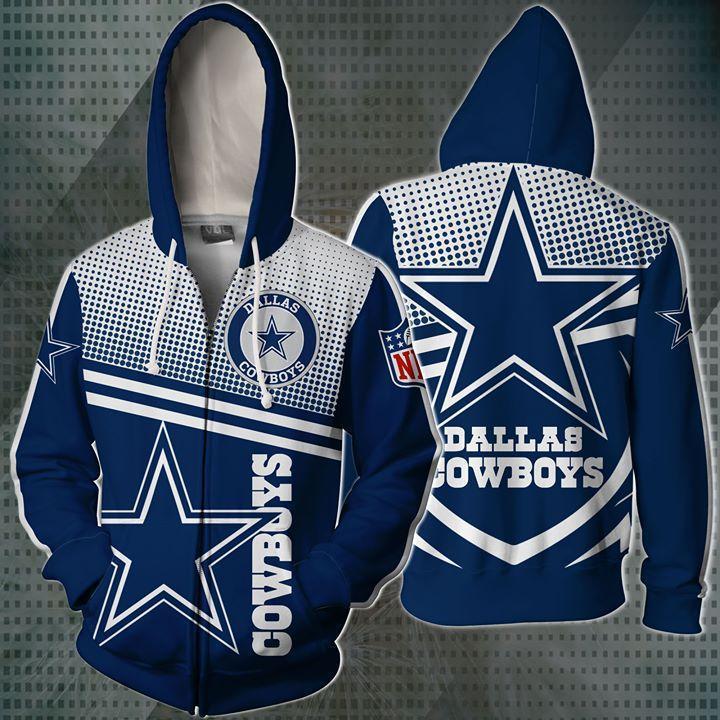 Dallas Cowboys Nfl Fan 3d Zip Hoodie 3d Graphic Printed Tshirt Hoodie Up To 5xl