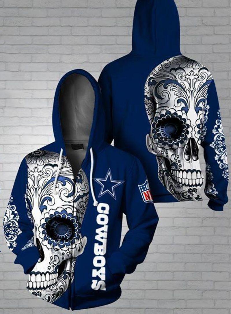 Dallas Cowboys Poco Loco Sugar Skull Blue Nfl 3d Zip Hoodie 3d Graphic Printed Tshirt Hoodie Up To 5xl