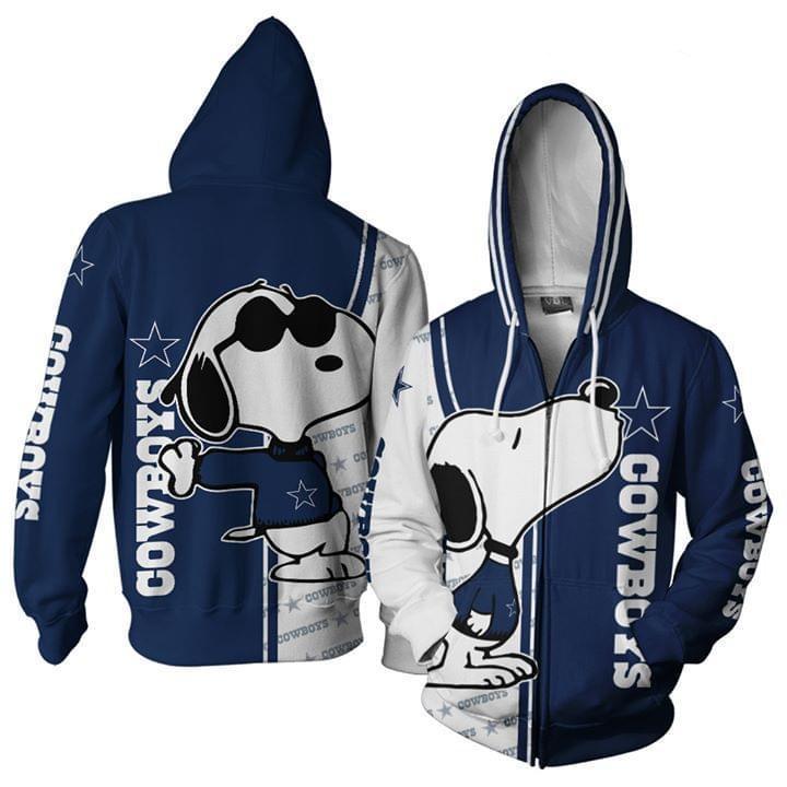Dallas Cowboys Snoopy Lover 3d Zip Hoodie 3d Graphic Printed Tshirt Hoodie Up To 5xl