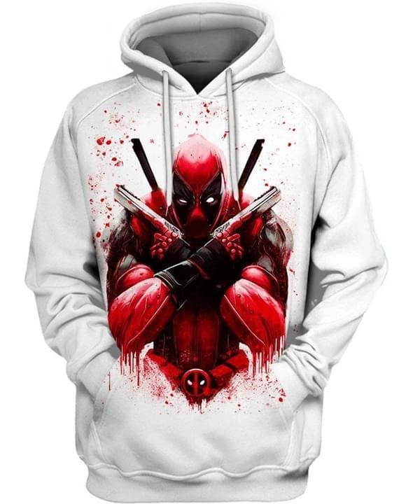 Deadpool Bloody White 3d Hoodie 3d Graphic Printed Tshirt Hoodie Up To 5xl