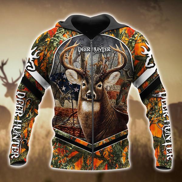 Deer Hunter For Hunting Lover 3d Zip Hoodie 3d Graphic Printed Tshirt Hoodie Up To 5xl