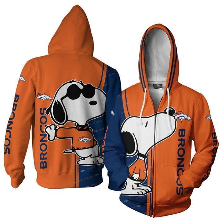 Denver Broncos Snoopy Kiss 3d Printed Zip Hoodie 3d 3d Graphic Printed Tshirt Hoodie Up To 5xl