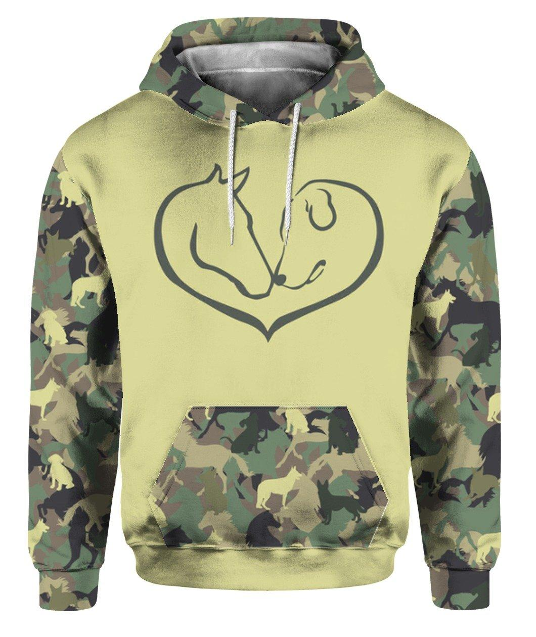 Easily Distracted By Horses And Dogs Heart Shape Camo 3d Full Printed Shirt 3d Graphic Printed Tshirt Hoodie Up To 5xl