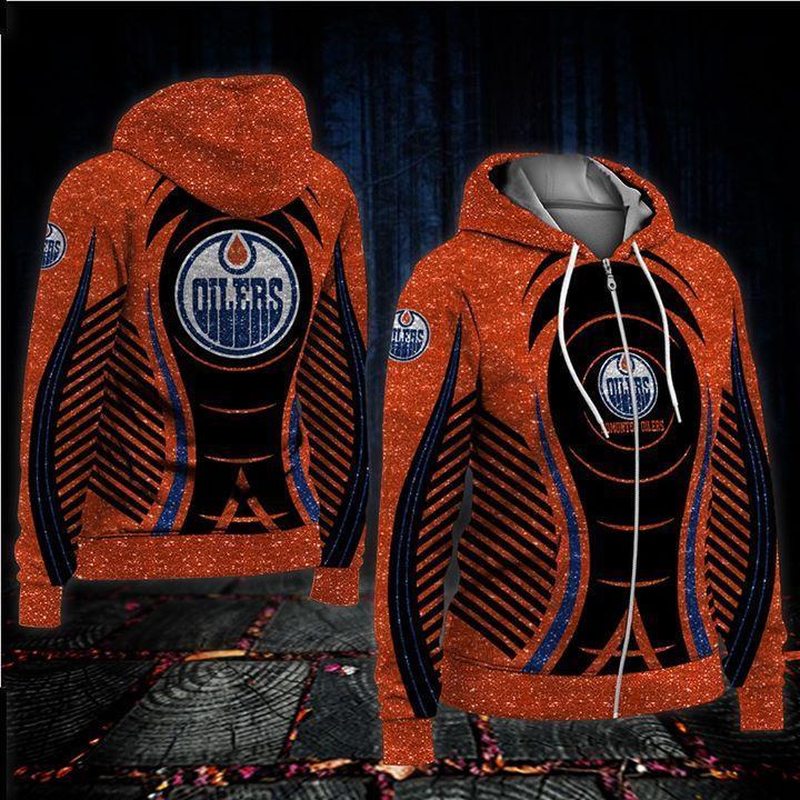 Edmonton Oilers Glitter Nhl Fan 3d Printed Zip Hoodie 3d Graphic Printed Tshirt Hoodie Up To 5xl