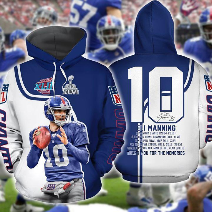 Eli Manning New York Giants Legend 10 Signed Thank You For The Memories 3d Printed Hoodie 3d Graphic Printed Tshirt Hoodie Up To 5xl