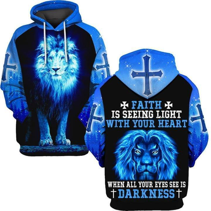 Faith Is Seeing Light With Your Heart When All Eyes See Is Darkness Blue Flame Lion 3d Hoodie 3d Graphic Printed Tshirt Hoodie Up To 5xl