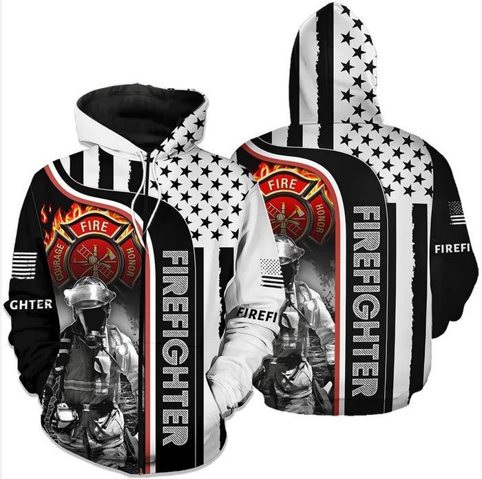 Firefighter Hero 3d All Over Printed Zip Hoodie 3d Graphic Printed Tshirt Hoodie Up To 5xl