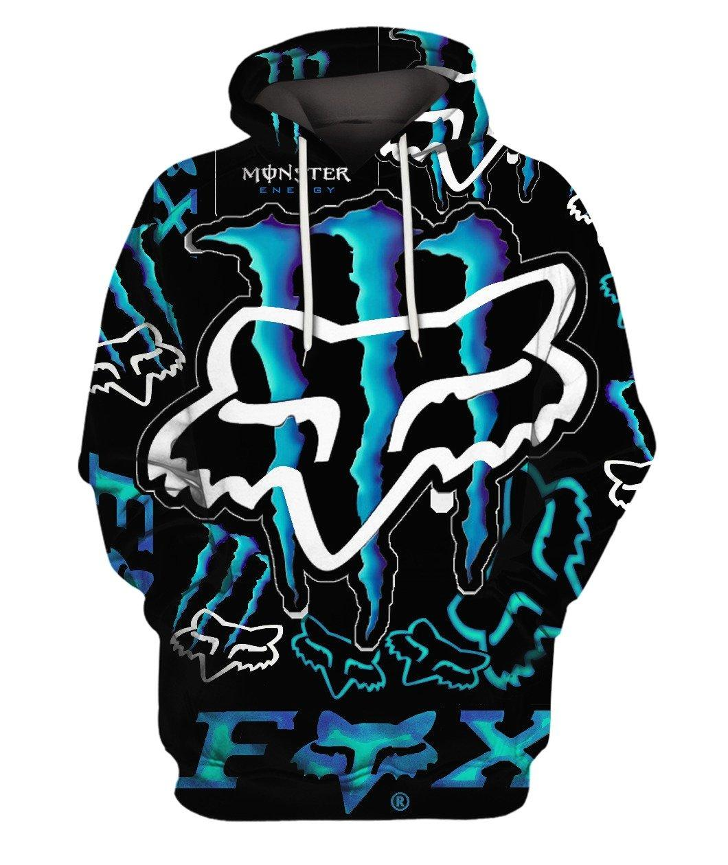 Fox Monster Energy Blue 3d Full Print 3d Graphic Printed Tshirt Hoodie Up To 5xl